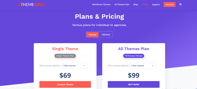 ThemeGrill Pricing Page