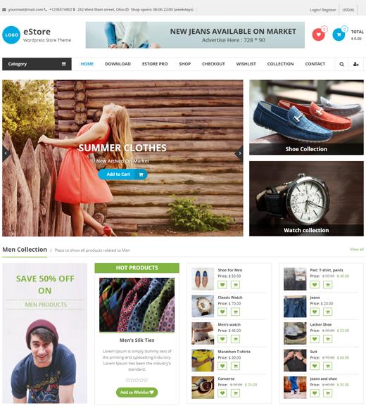 eStore Theme Demo Page