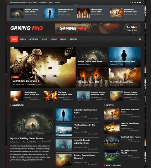 Gaming Mag WordPress Theme