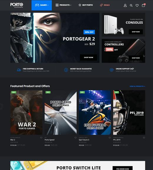 Porto WordPress Theme Gaming Site Demo