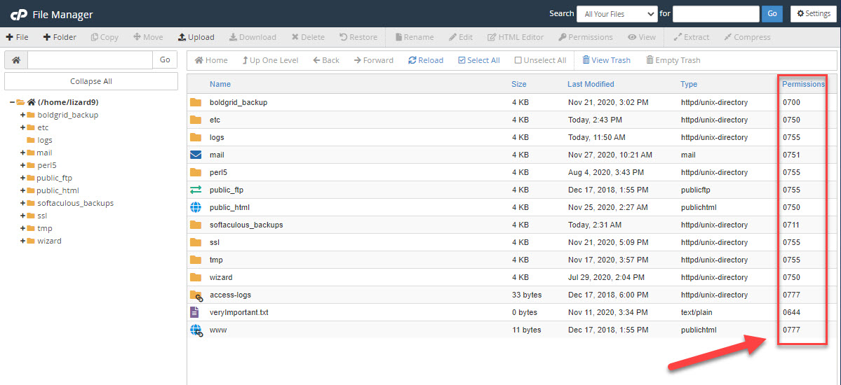 The cPanel file manager, with the file permissions column highlighted.