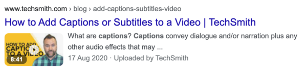 example of video with text overlay. in the thumbnail