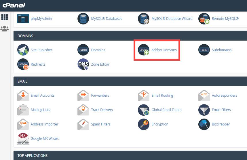 cpanel addon domains icon