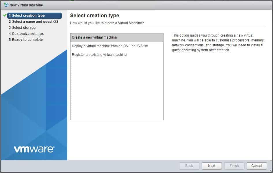 VMware ESXi 7 Create Virtual Machine