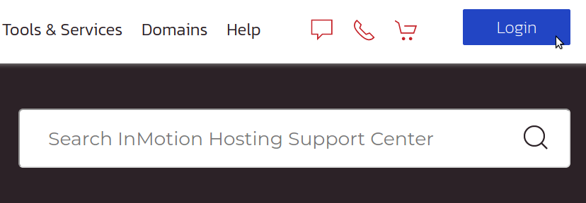 Login button for Support Center