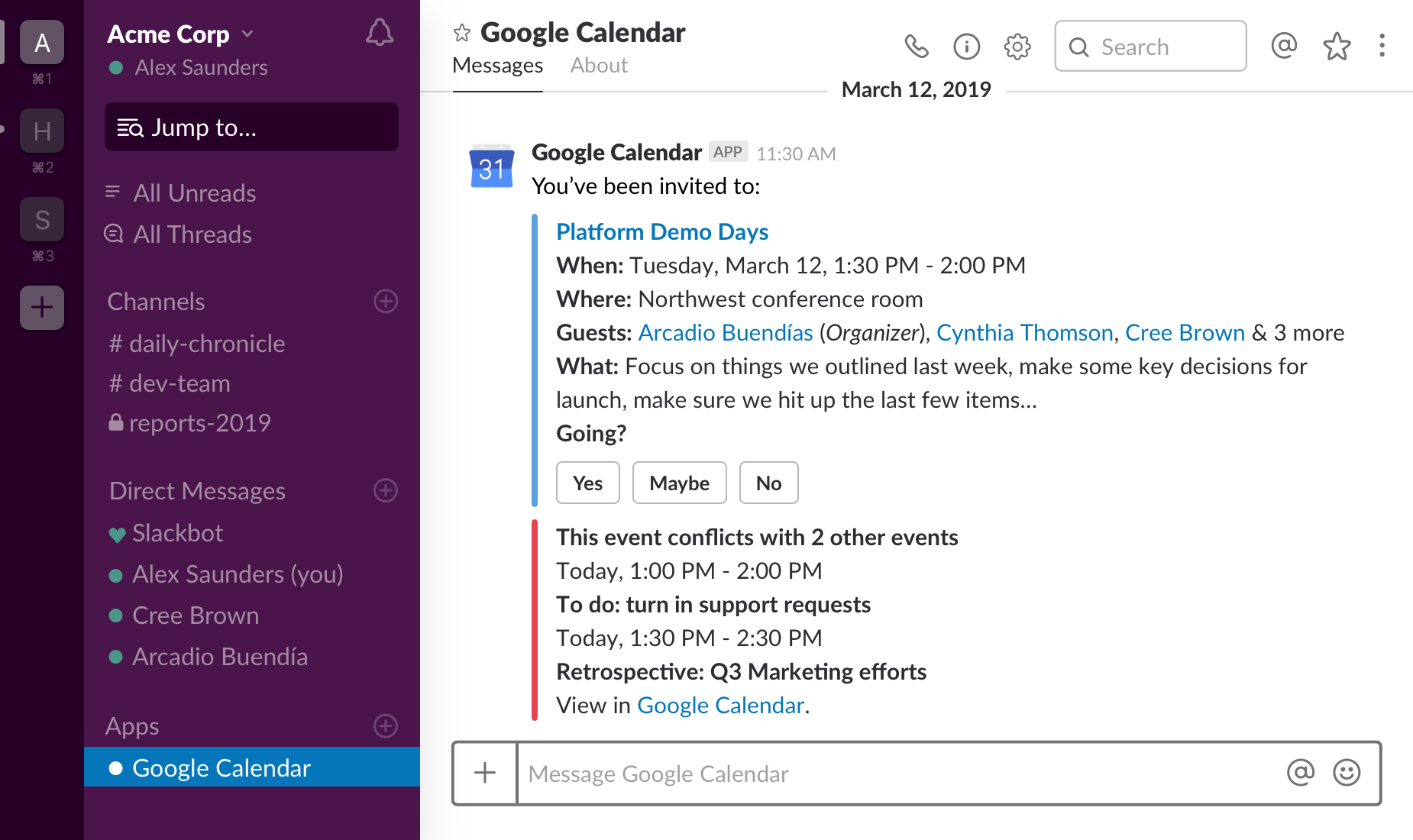 Example of Slack and G-suite integration
