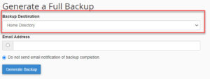 Backup Wizard dropdown save menu