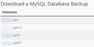 List of MySQL Database Backups