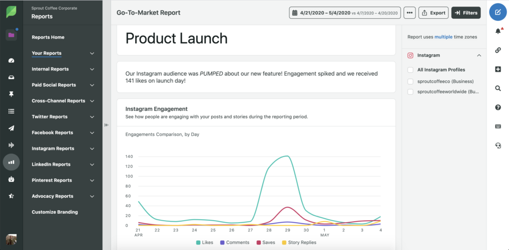 An example of using Sprout Social's Reporting feature