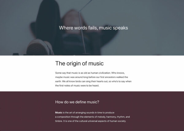 Digital story in WordPress on music part 1