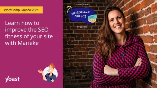 social image of Marieke van de Rakt speaking at WordCamp Greece 2021