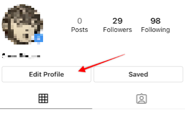 arrow pointing to the edit profile button on Instagram