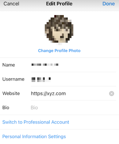 Instagram edit profile page with filled out URL field