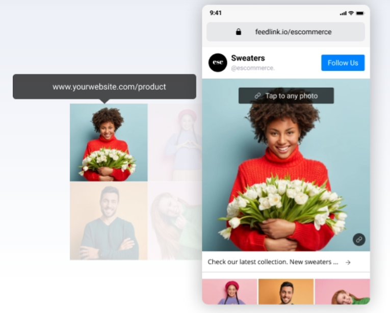 feedlink page example with photo of a woman holding flowers as a link thumbnail