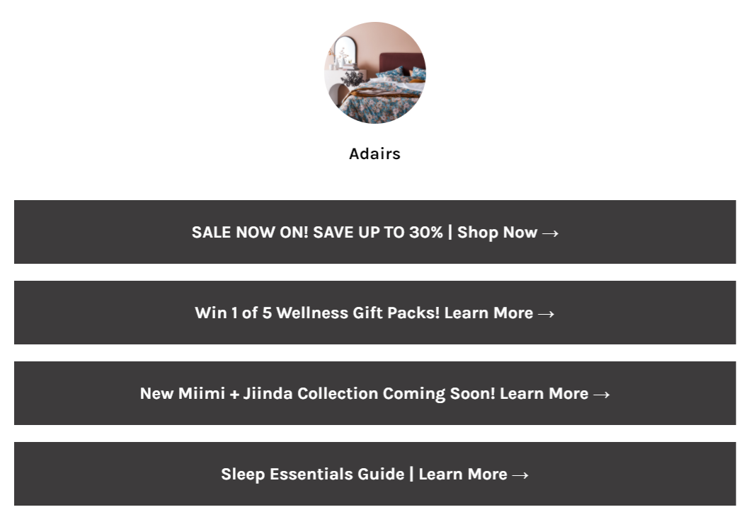Linktree page for Adairs showcasing a link to its 30% off sale