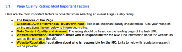 A screenshot of Google's Search Quality Evaluator Guidelines document, showing the