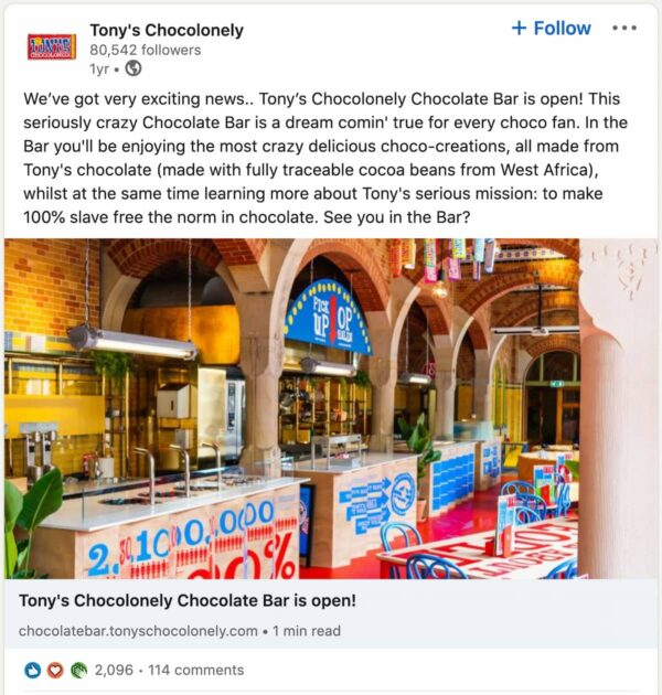 example of linkedin post by Tony Chocolonely