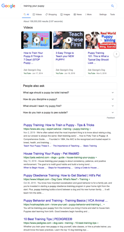 search results for'training your puppy'