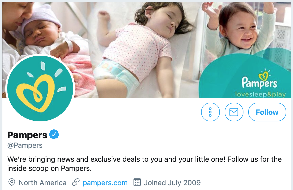 Twitter bio ideas - Pampers