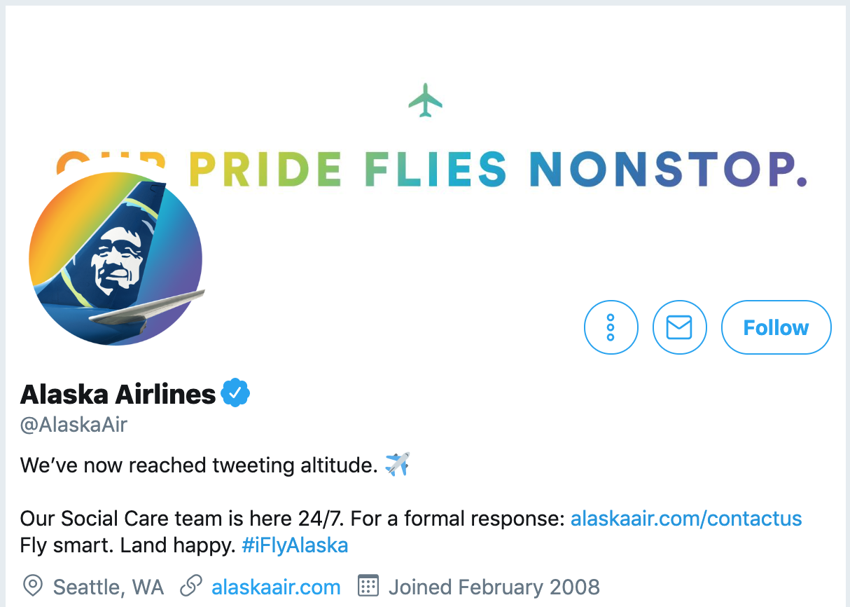 Twitter bio ideas - AlaskaAir