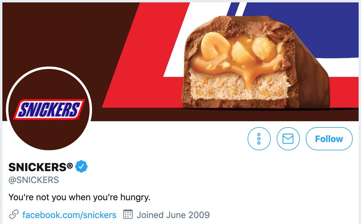 Twitter bio ideas - Snickers