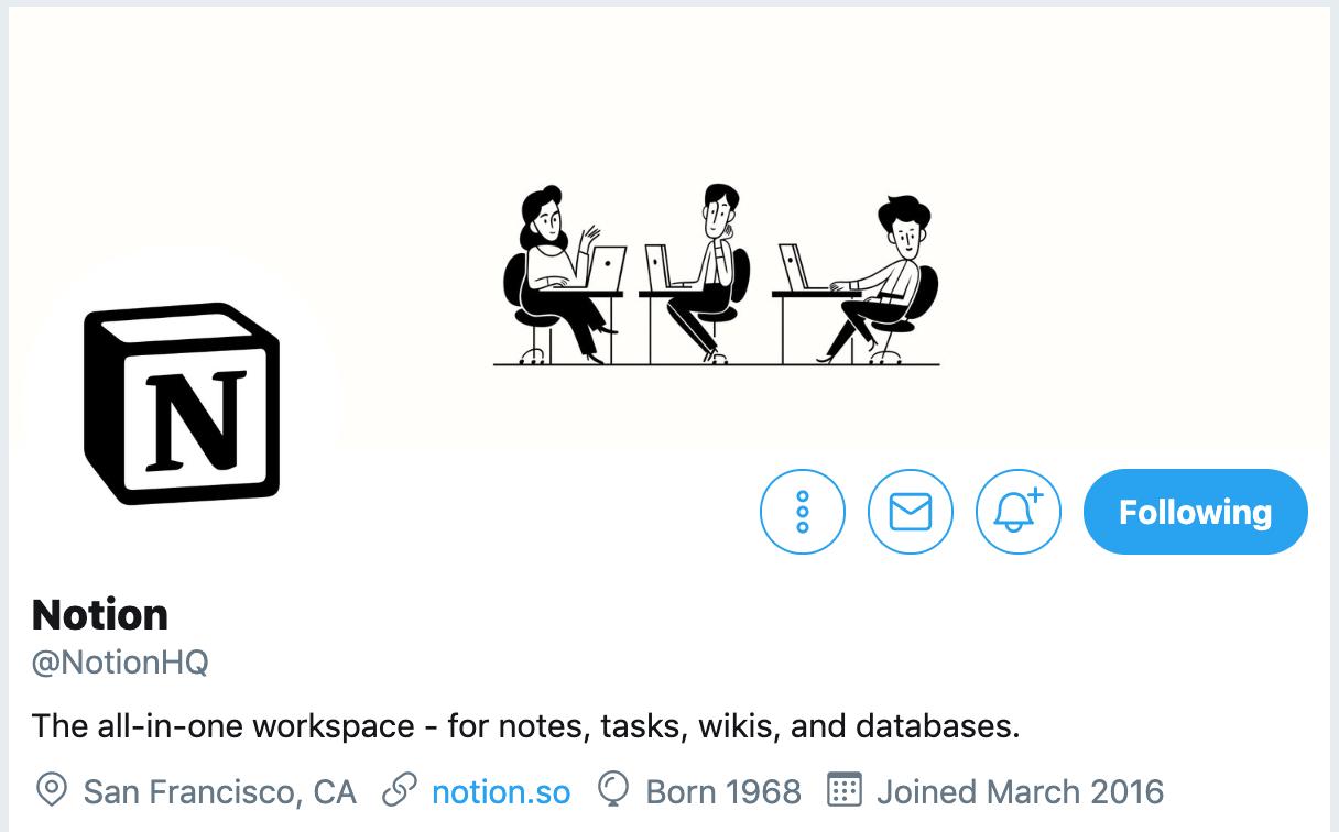 Twitter bio ideas - Notion