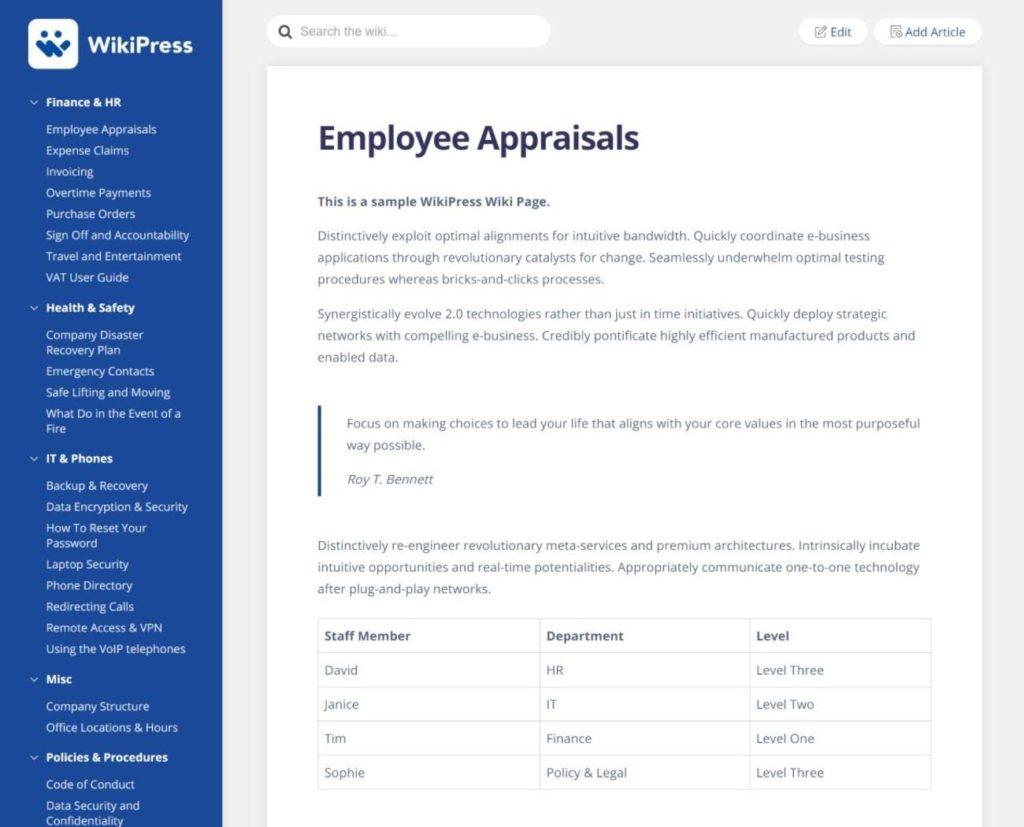 WikiPress article