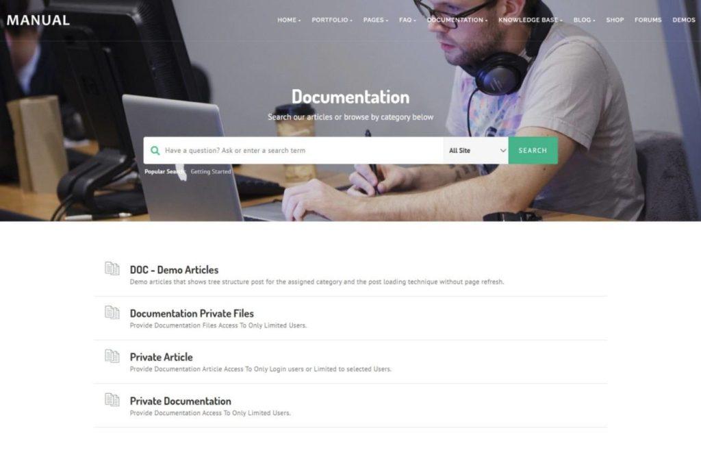 Manual homepage