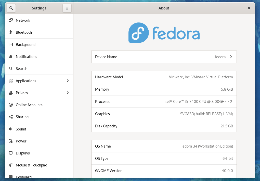 fedora 34 about