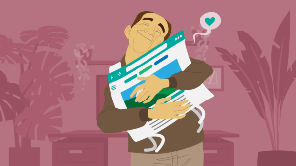 illustration of person hugging their website