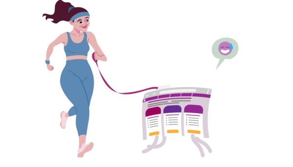 illustration of person running with their website
