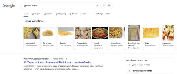 google entities types of pasta