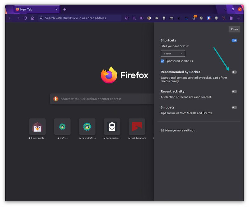 disable article recommendations firefox