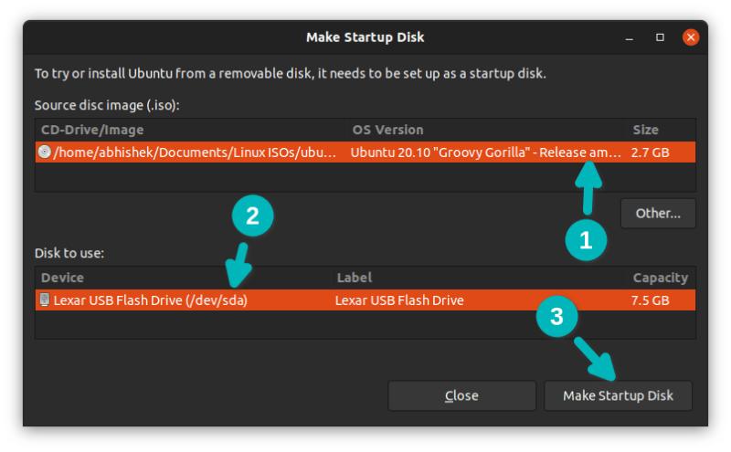 creating live usb ubuntu startup disk creator
