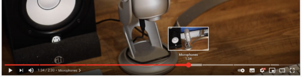 Image showing timestamp indicators in the play bar of a YouTube video