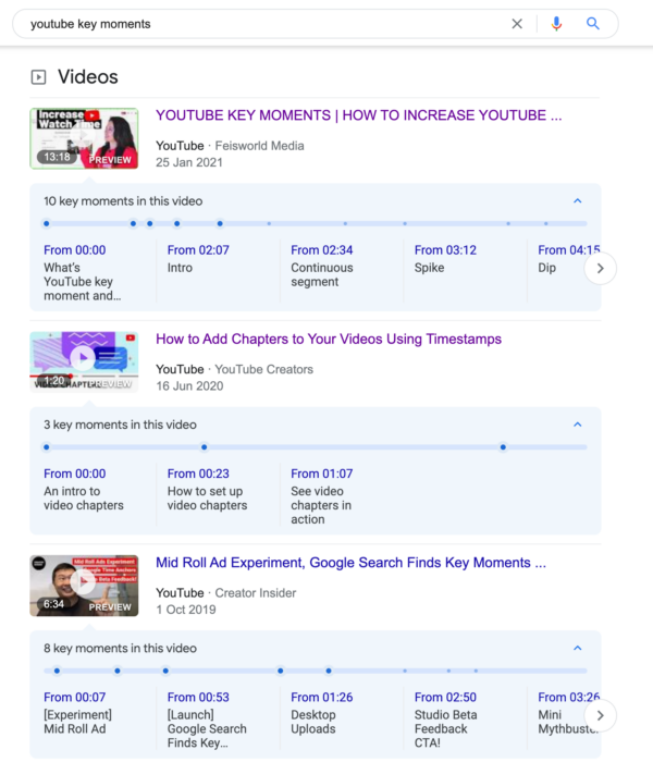 Image showing video search results featuring YouTube videos with Key Moments
