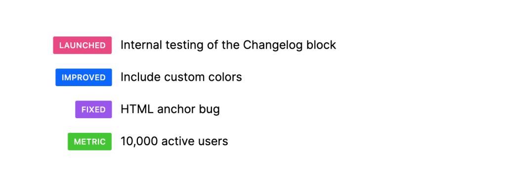 Changelog blocks with