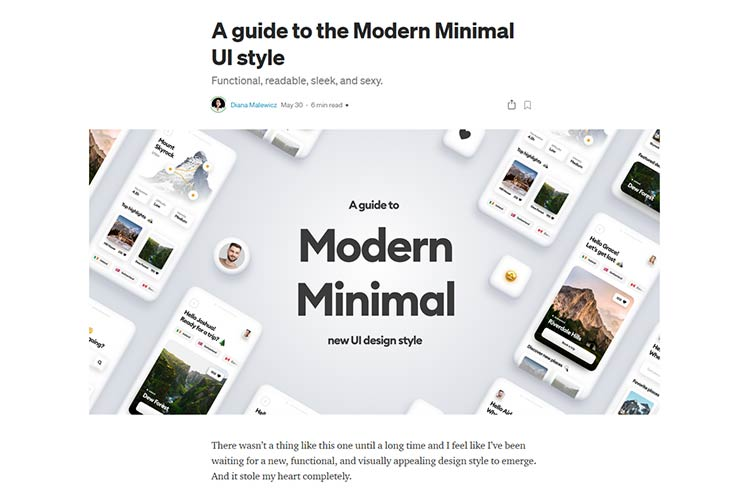 Example from A guide to the Modern Minimal UI style