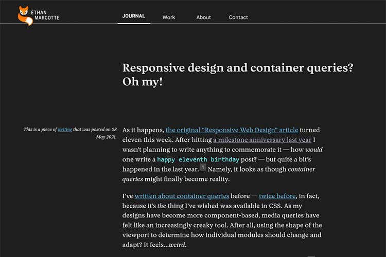 Example from Responsive design and container queries? Oh my!