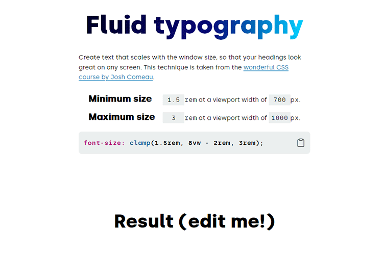 Example from Fluid typography