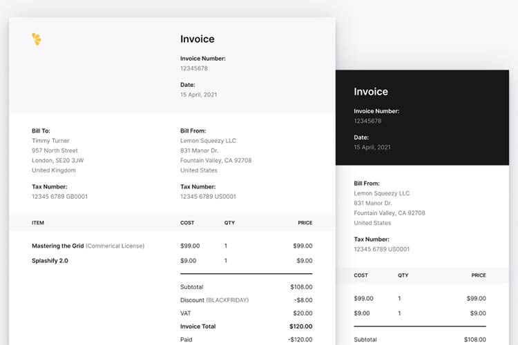 Example from A4 Invoice Template