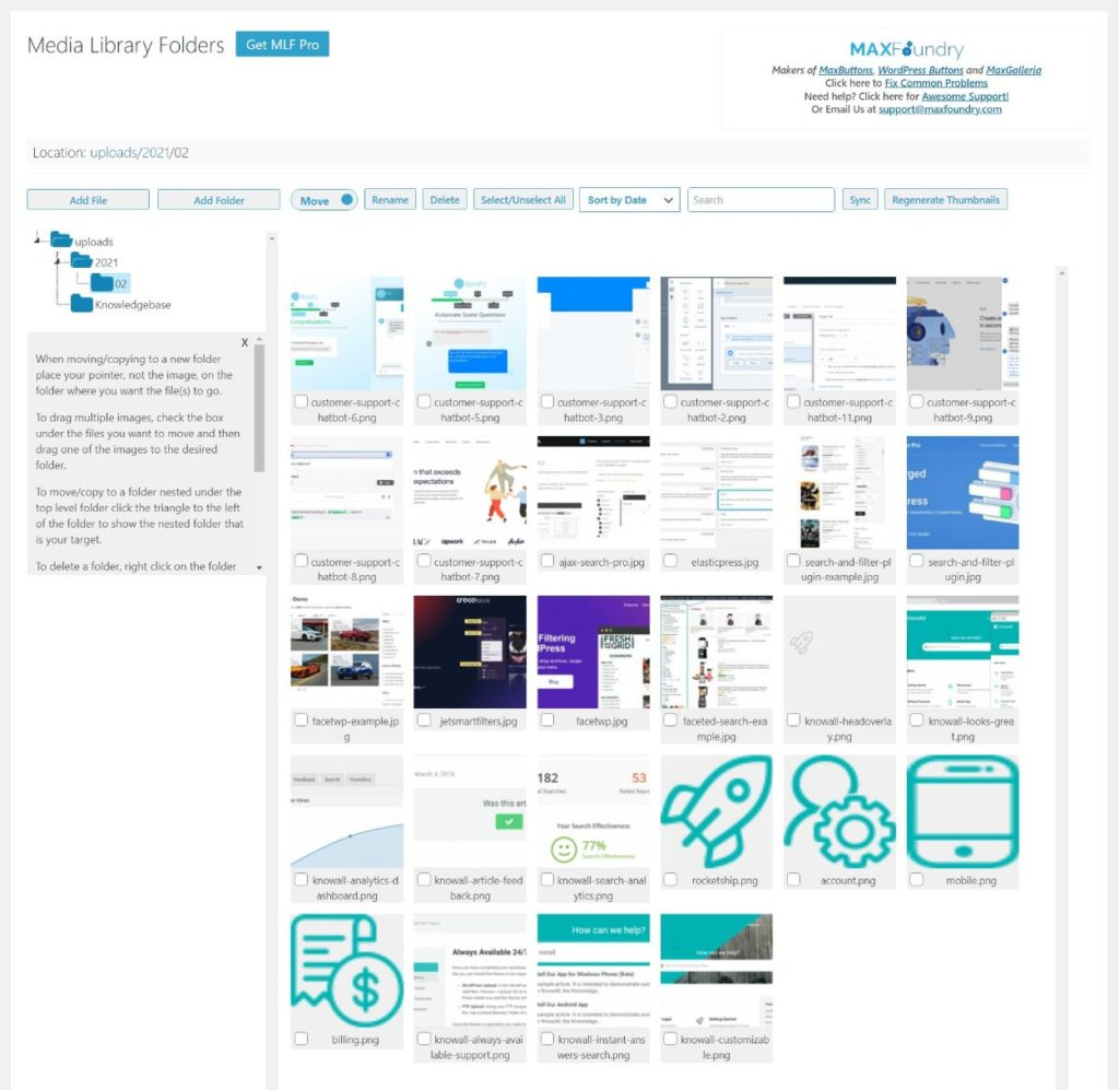 Media Library Folders interface