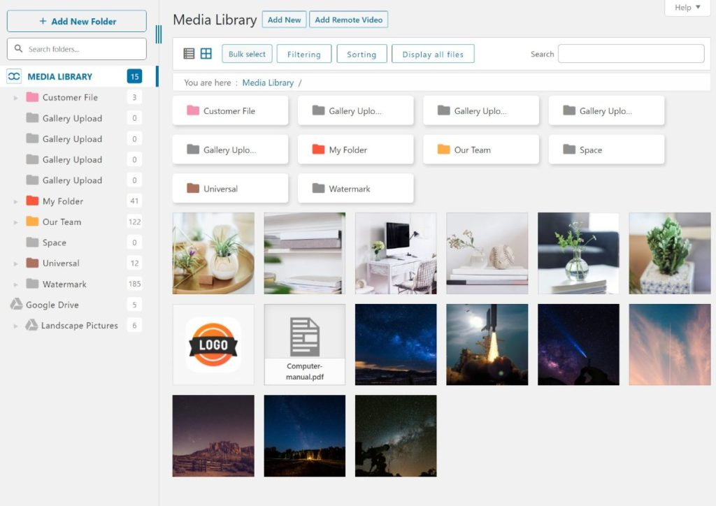 WP Media Folder interface