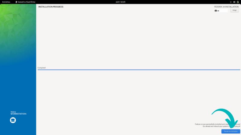 Finishing Fedora installation