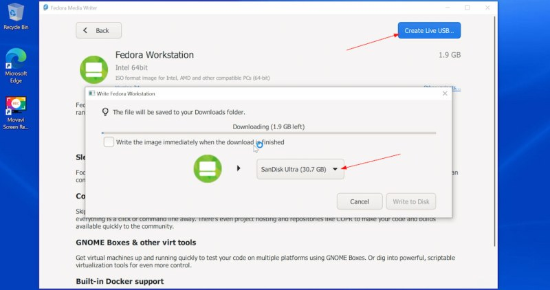Downloading Fedora with Fedora Media Writer