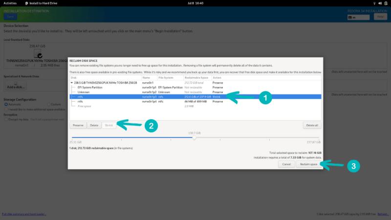 Installing Fedora alongside Windows on the same disk by shrinking Windows partition