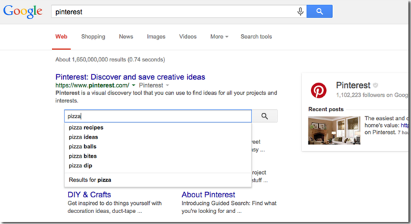An example 'sitelinks search box' showing for a search for 'Pinterest' in Google