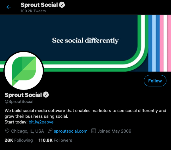 example of follower count on Sprout twitter account