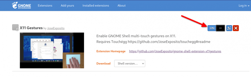 x11 gestures gnome extension