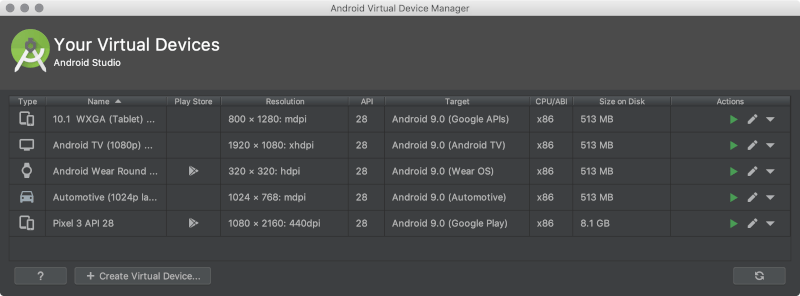 android virtual devices studio